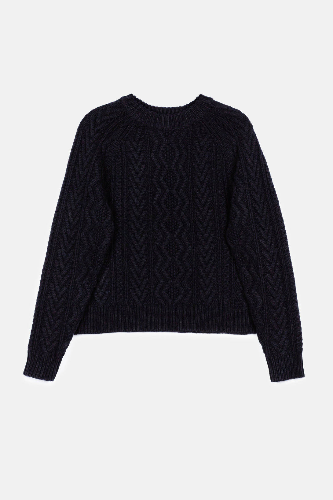 Two-Tone Cashmere Cable LS Crewneck Sweater - Black