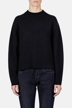 Double Face Cashmere LS Step Hem Crewneck Sweater - Black