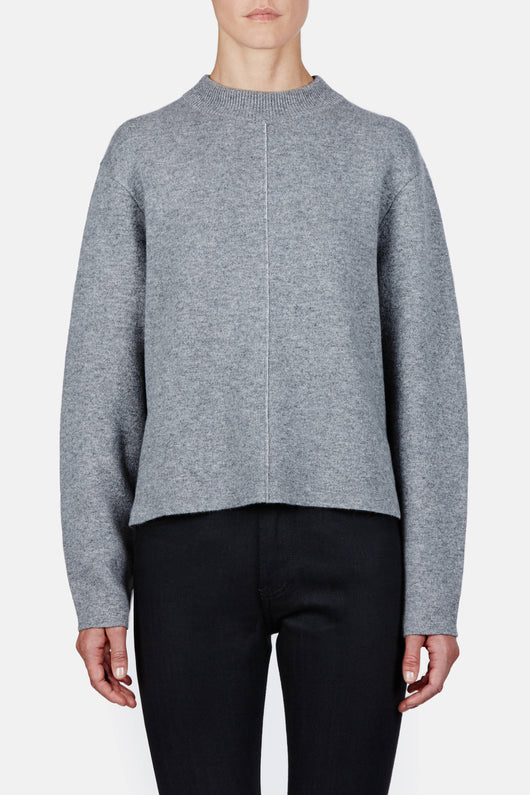 Double Face Cashmere LS Step Hem Crewneck Sweater - Grey Melange
