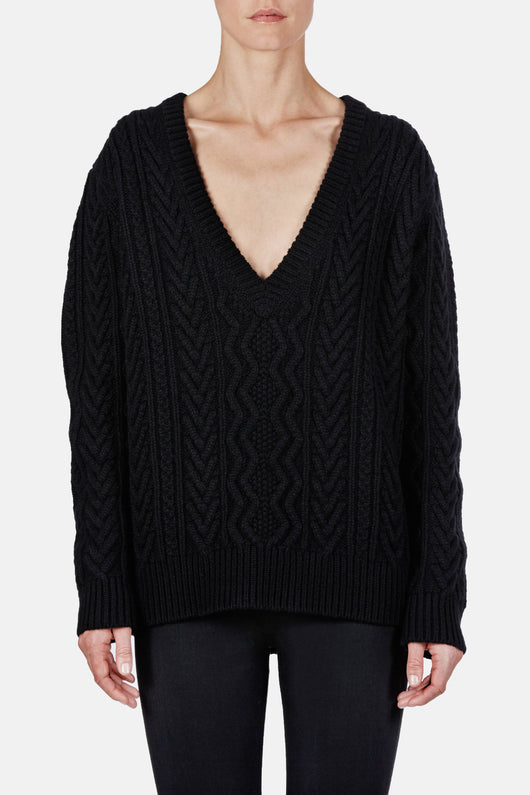 Two-Tone Cashmere Cable LS Deep V-Neck Sweater - Black