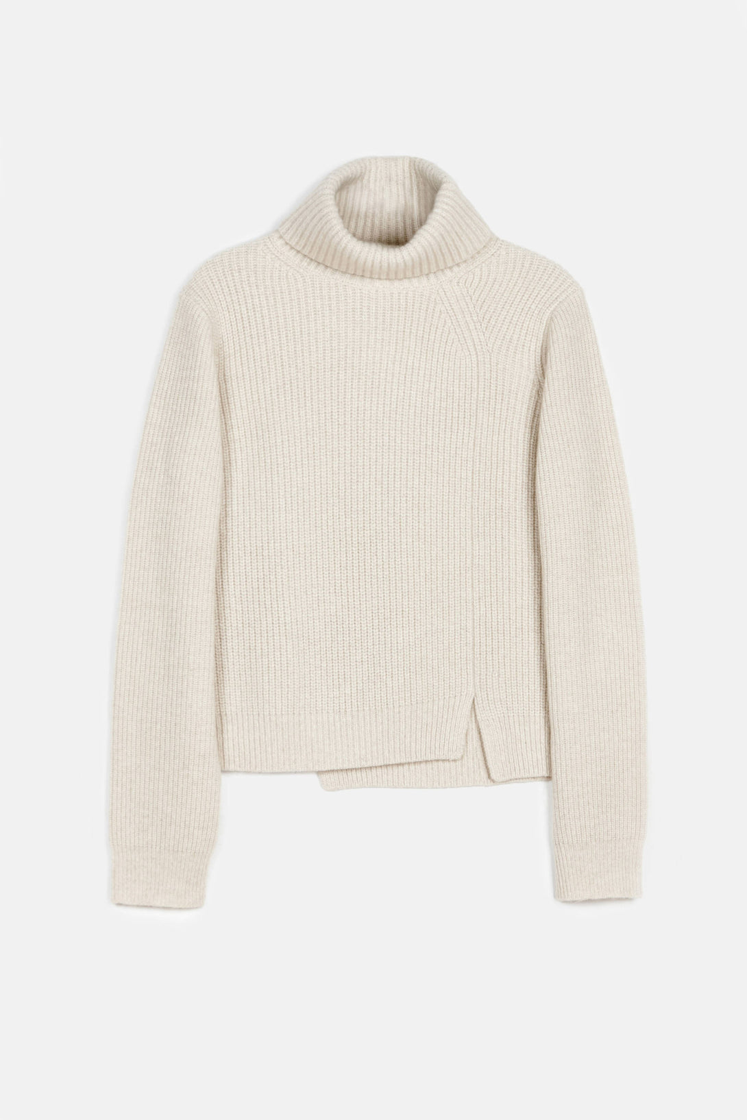 Wool-Cashmere Rib LS Step Hem Turtleneck Sweater - Oatmeal