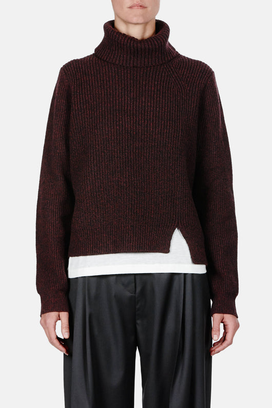 Wool-Cashmere Rib LS Step Hem Turtleneck Sweater - Aubergine