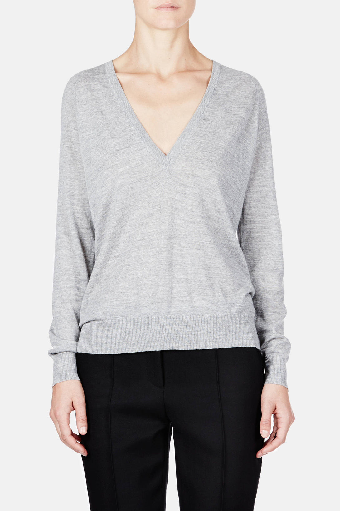 Superfine Merino L/S Deep V-Neck Sweater - Light Grey Melange