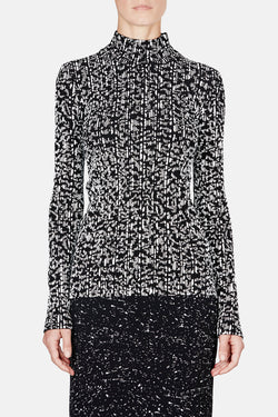 Pleated Printed Turtleneck