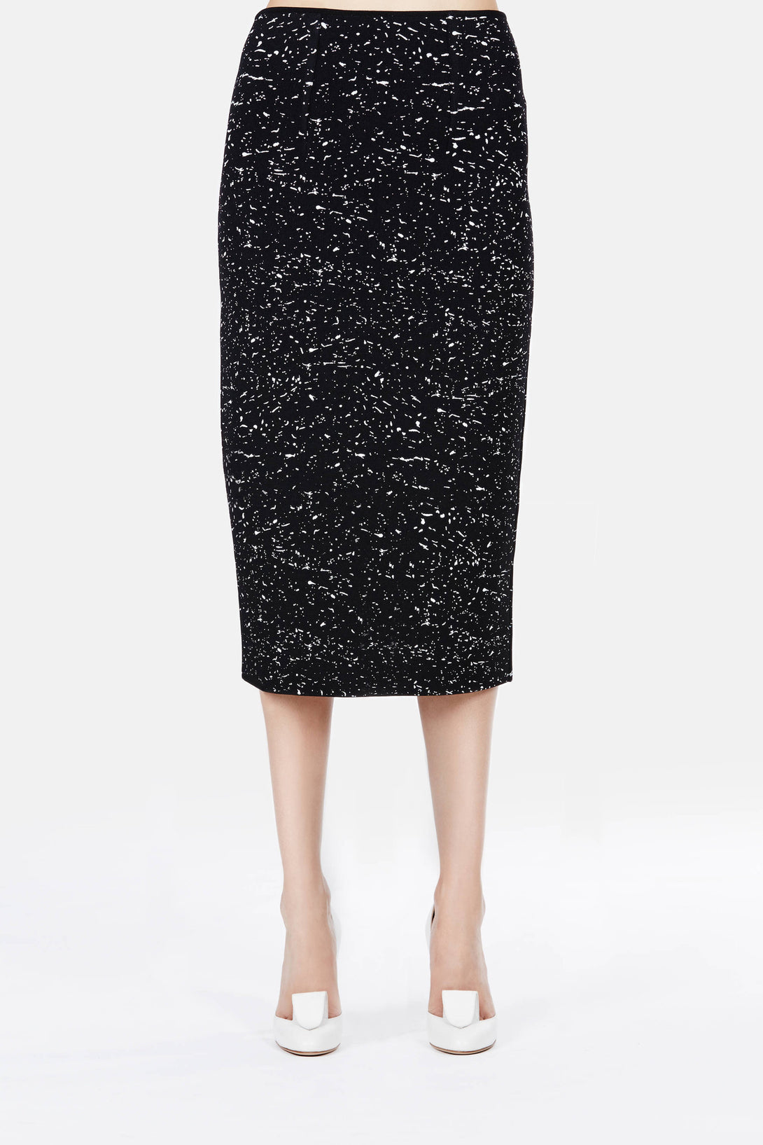Splatter Print High Waisted Knit Skirt