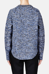 Speckled Wool L/S Crewneck Curve Hem Sweater