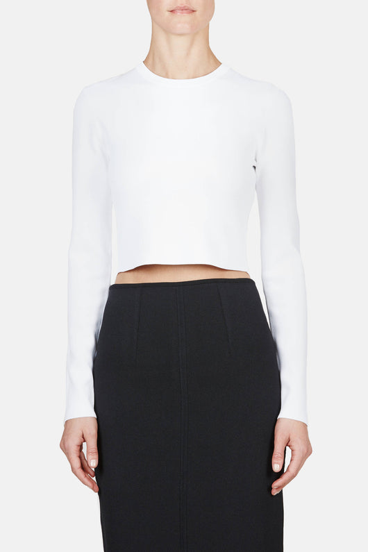 LS Cropped Crewneck - White