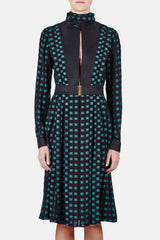 L/S Pleated Dress w/Keyhole - Black/Green