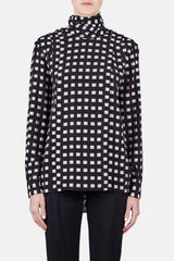 L/S Pleated Blouse - Black/White