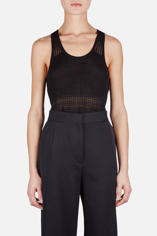 Pointelle Racerback Knit Tank - Black