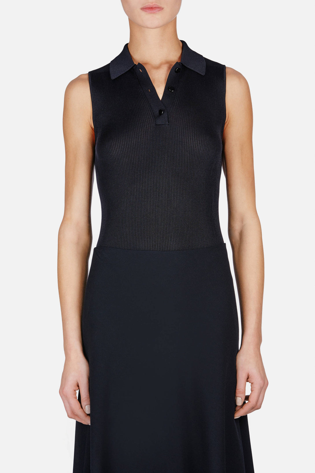 Silk Rib Knit Sleeveless Polo Top - Black