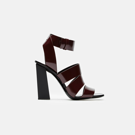 Triple Strap 110mm Sandal w/Ankle Strap - Burgundy