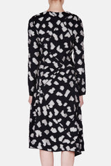 L/S Asymmetrical Dress - Black/Bone Tile