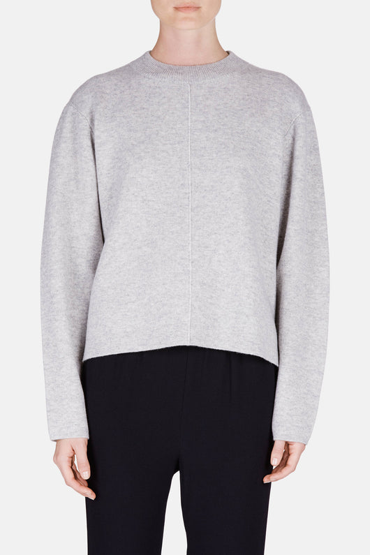 L/S Step Hem Crewneck - Light Grey Melange