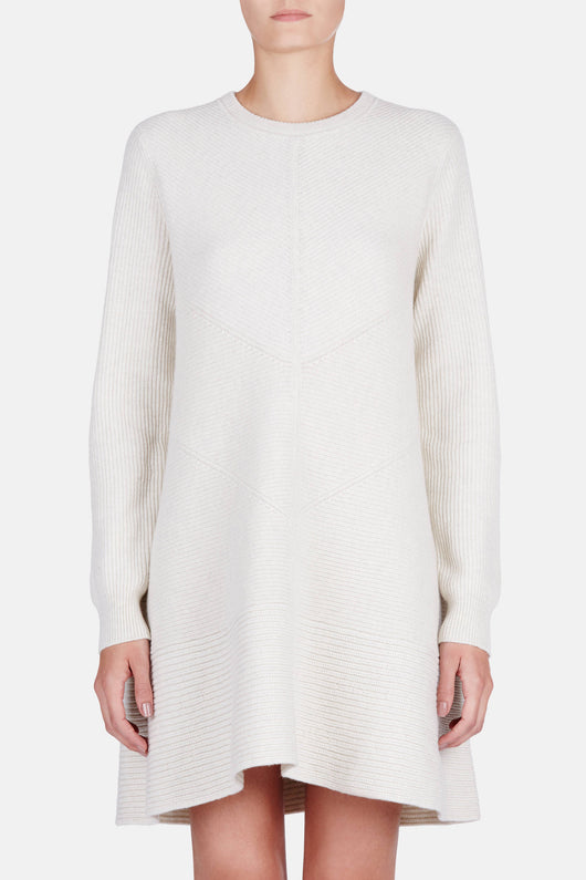 L/S Crewneck Dress - Off White