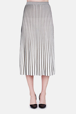 Long Pleated Knit Skirt - Off White/Black