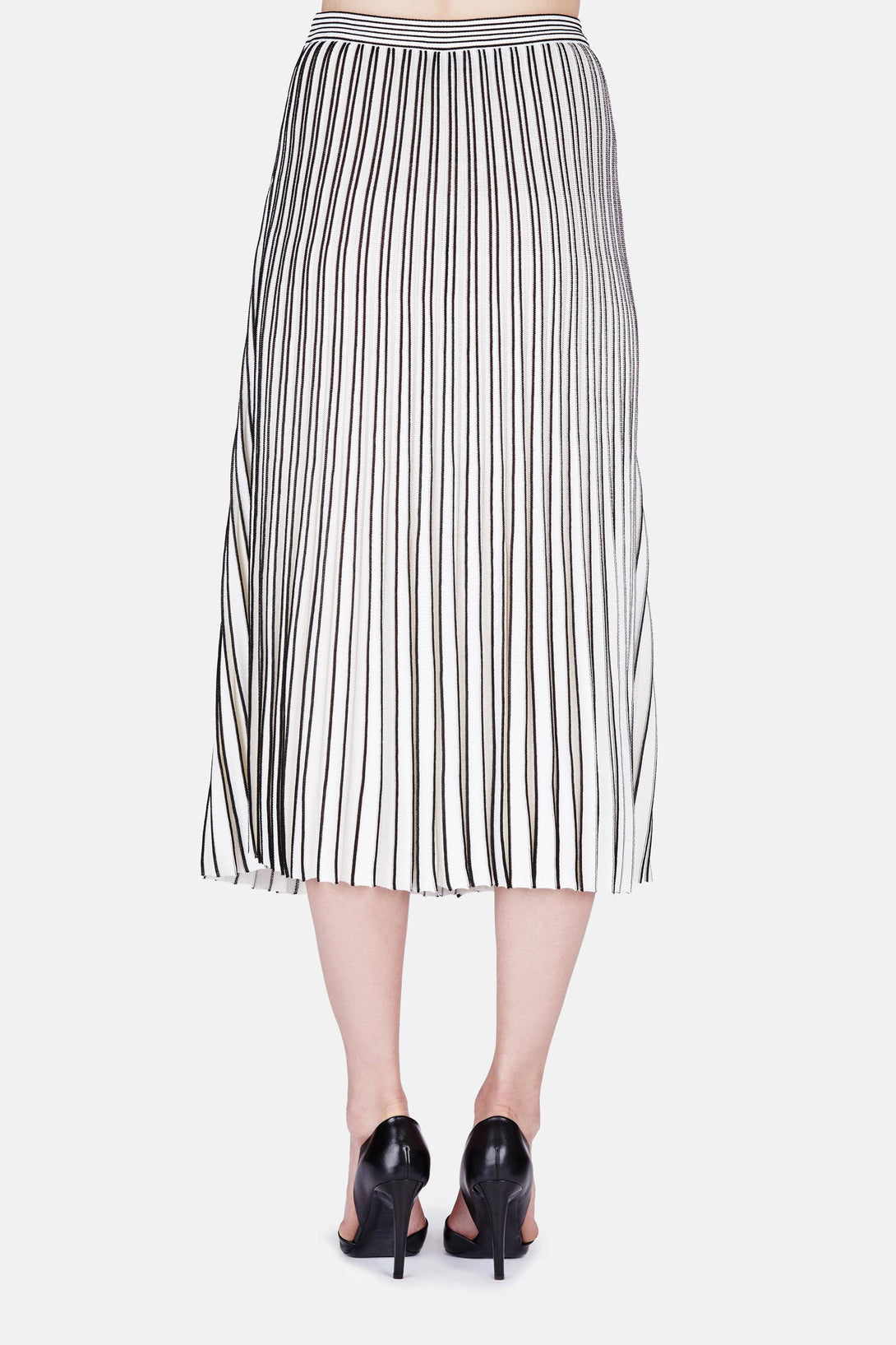 Long Pleated Knit Skirt - Off White/Black – The Line