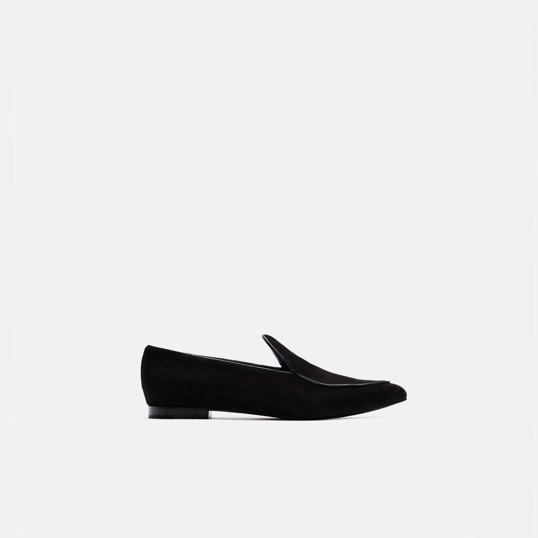 Suede Pointy Loafer - Black