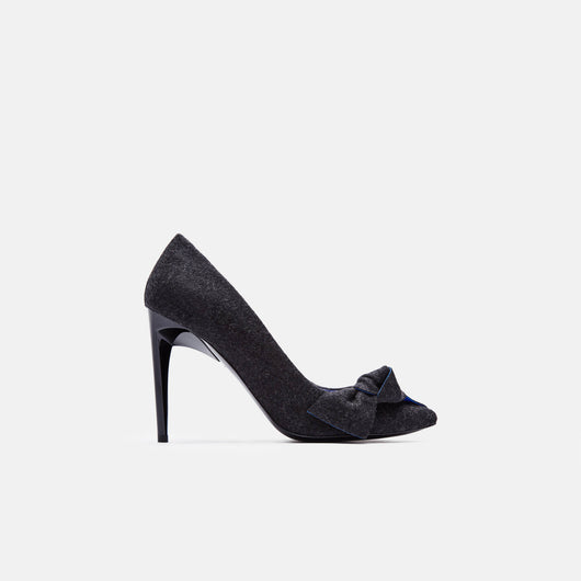 Felt 100mm Bow Pump - Dark Grey