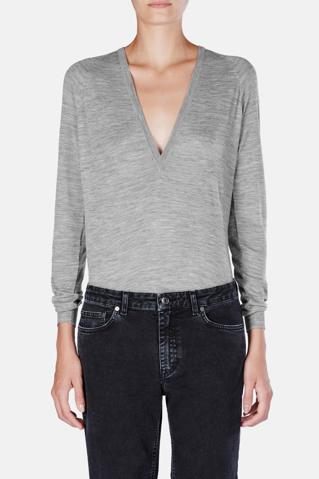 PS L/S Deep V - Medium Grey