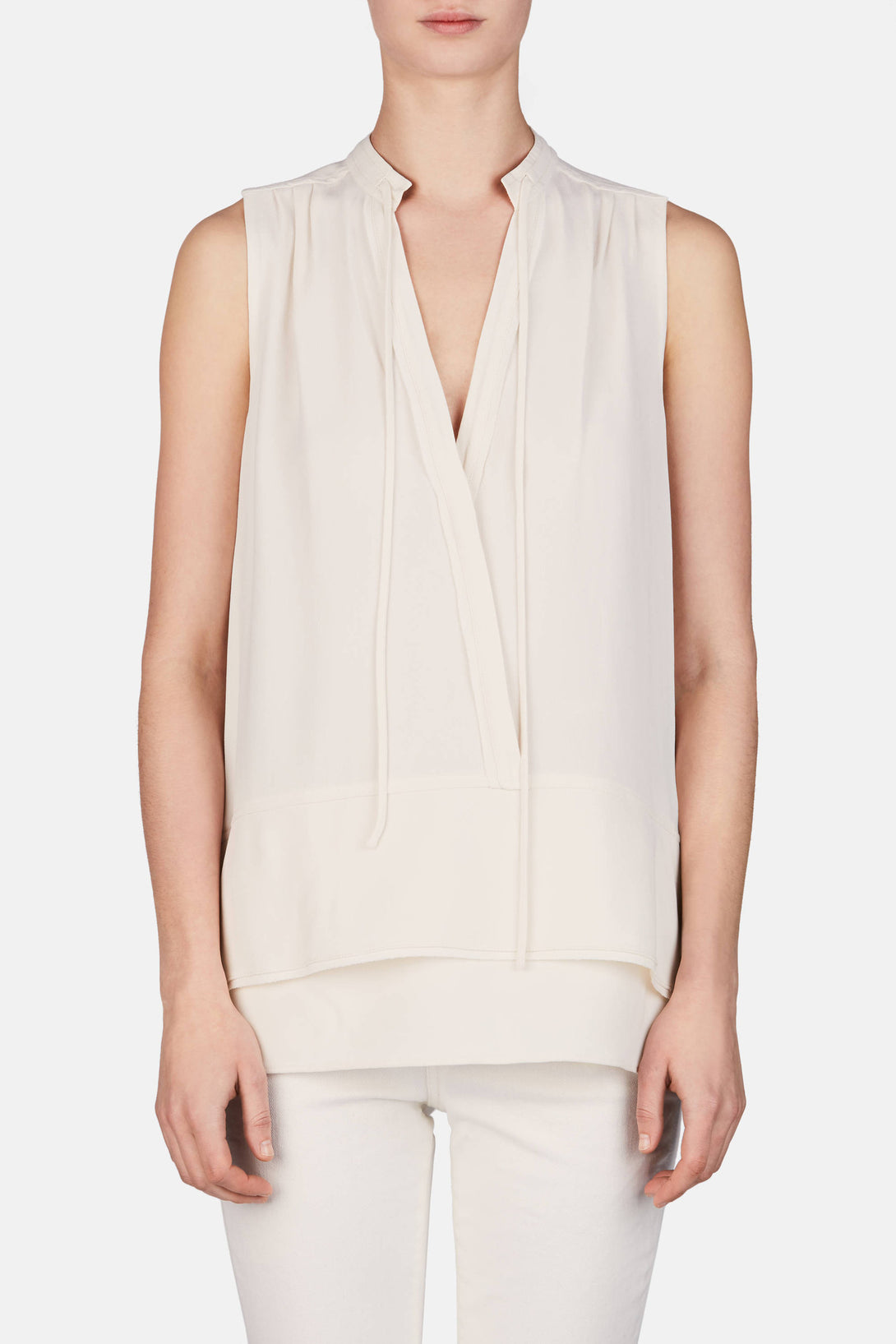 Sleeveless Top w/Ties - Off-White