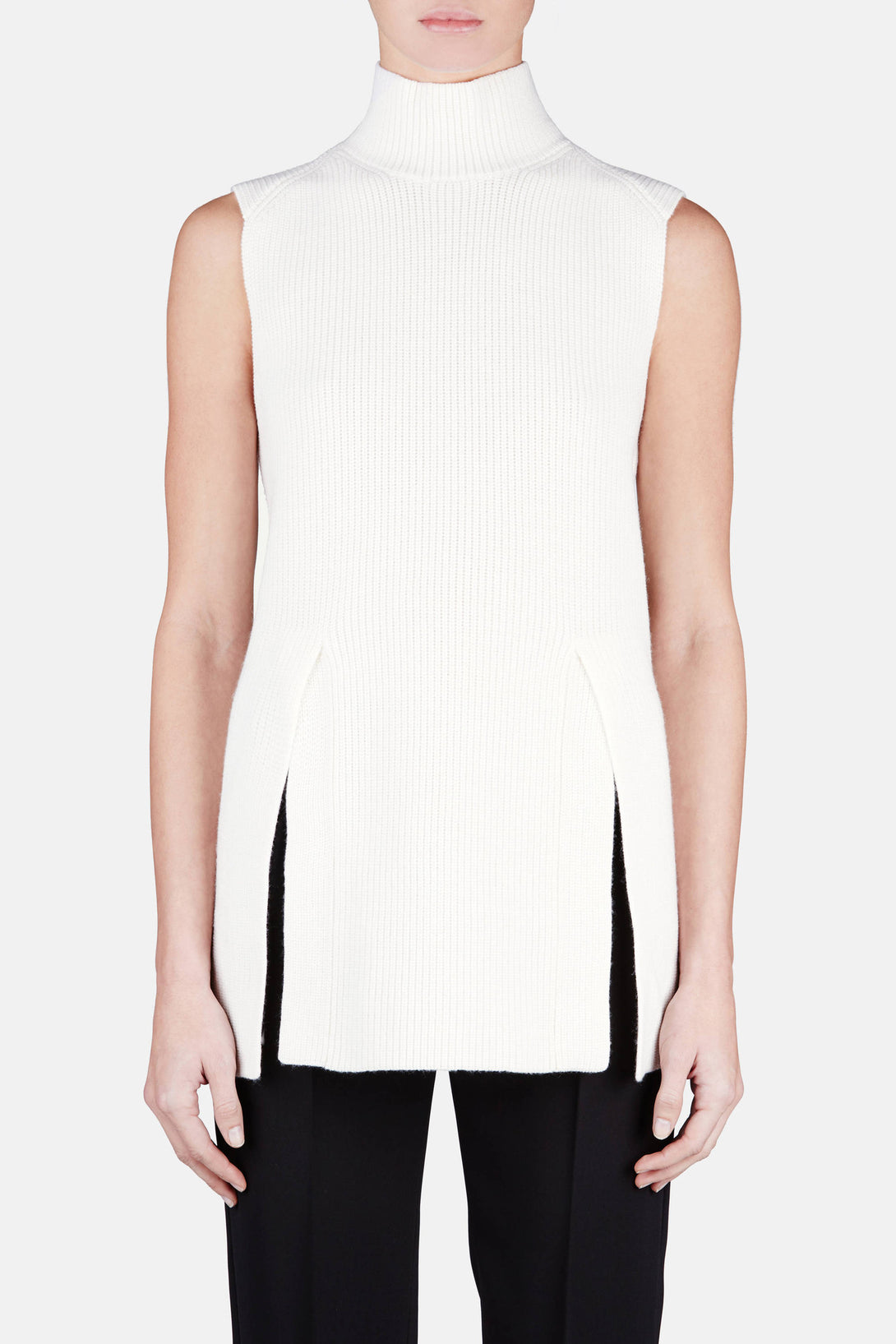 Sleeveless Turtleneck w/Slits - Off-White