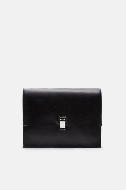 Large Leather Lunch Bag - Black