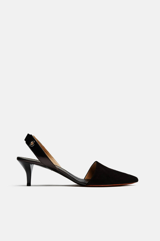 Suede Sling Back Kitten Heel - Black