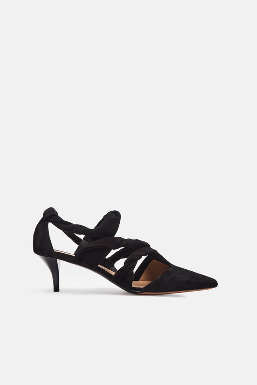 Suede Knotted Kitten Heel - Black