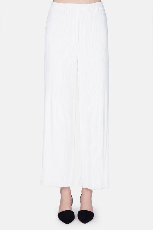 Flared Pant - Pleated Cady Suiting - White
