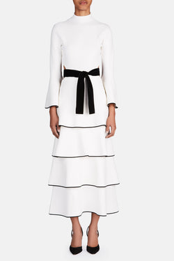 Tiered Ruffle Dress with Tie - Off-White/Black