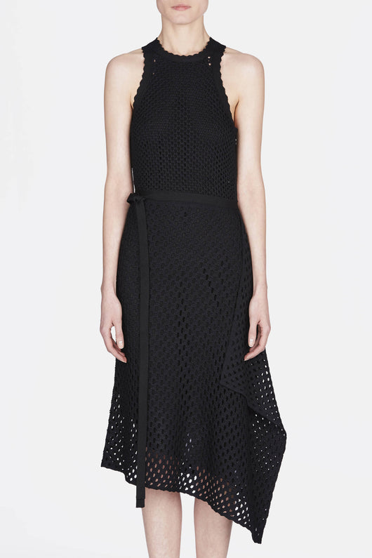 Sleeveless Knit Dress w/Asymmetrical Skirt - Black