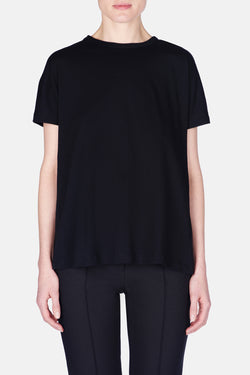 Short-Sleeved Top w/Back Ties - Black