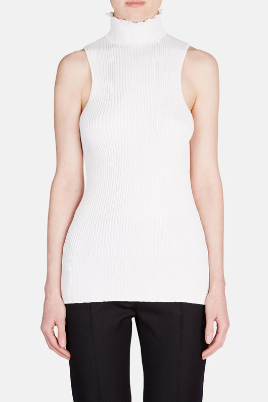 Sleeveless Ribbed Knit Top - Off-White