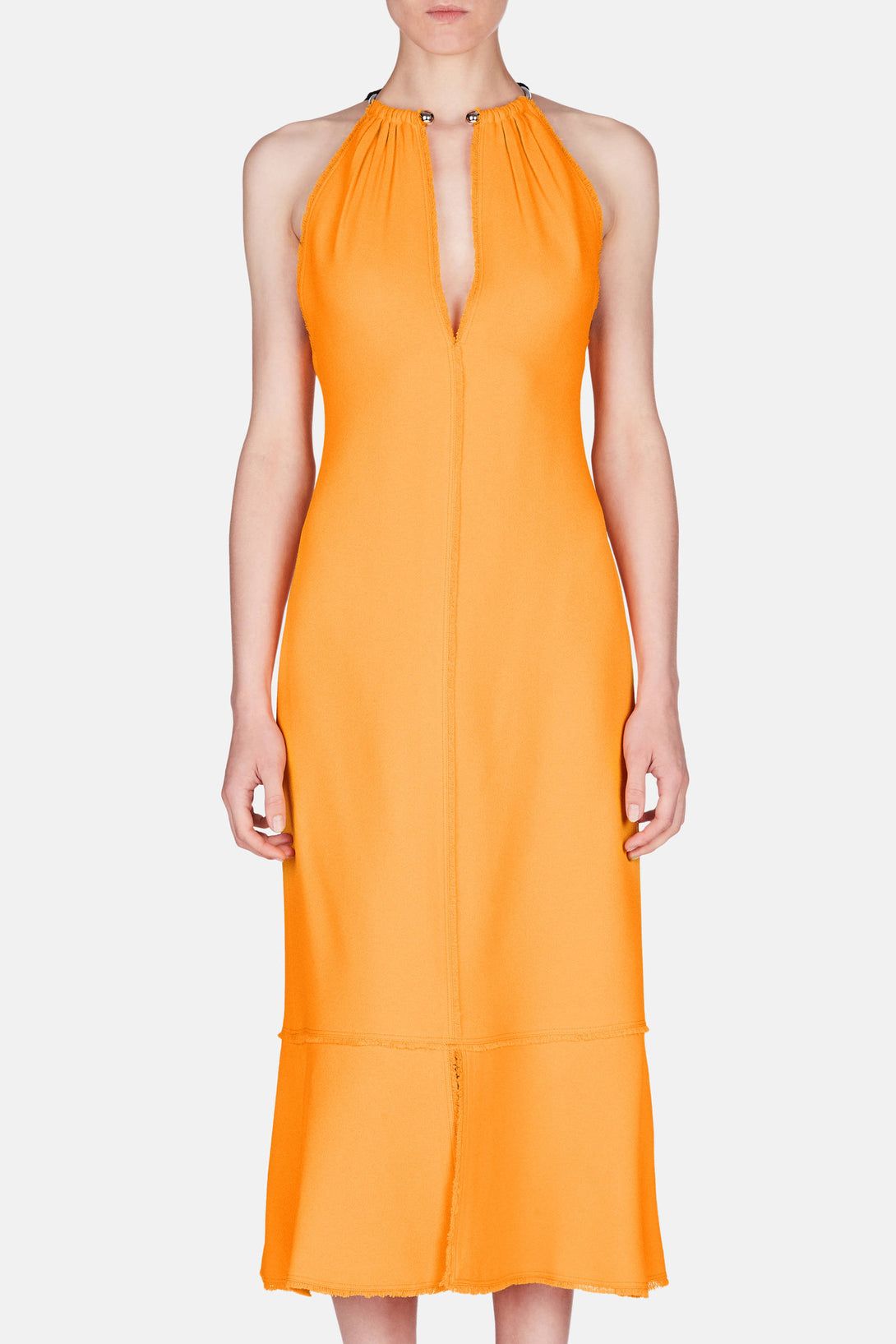 Sleeveless V-Neck Dress with Necklace - Bright Tangerine