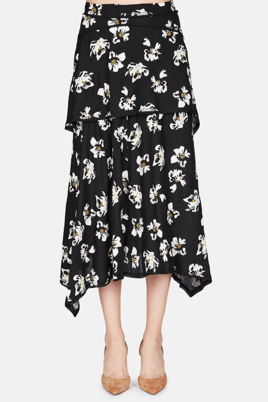 Asymmetrical Layered Skirt - Ecru Flower