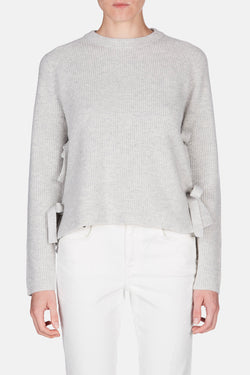 Crewneck with Side Ties - Light Grey Melange