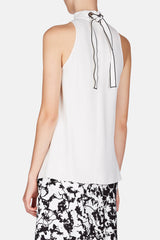 Sleeveless Tie-Neck Swing Top - Off-White
