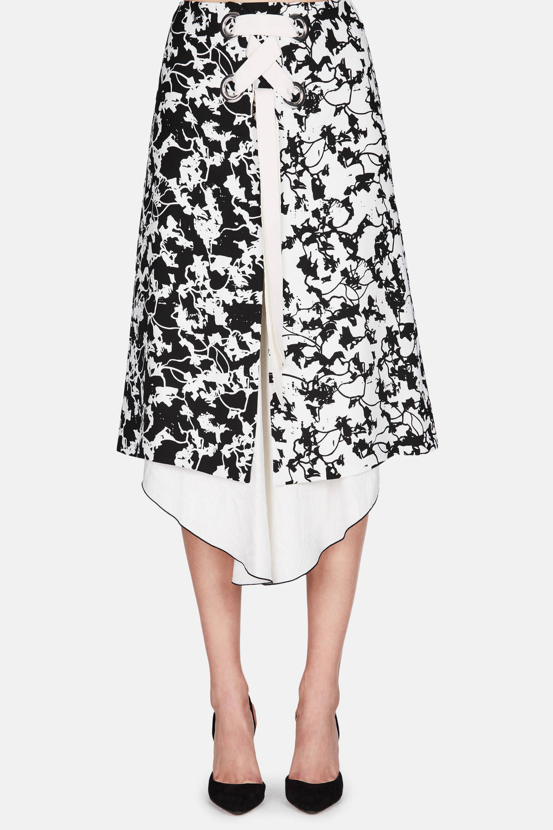 Printed A-Line Skirt - Black/Off-White