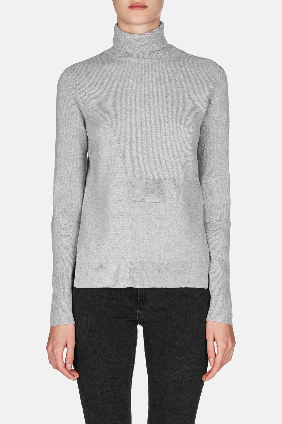 Patchwork Knit Turtleneck - Light Grey Melange