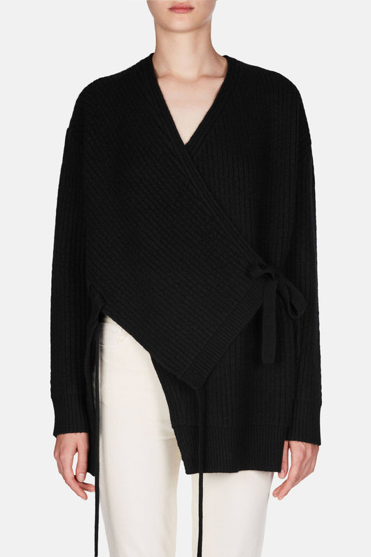 V-Neck Wrap Cardigan - Black