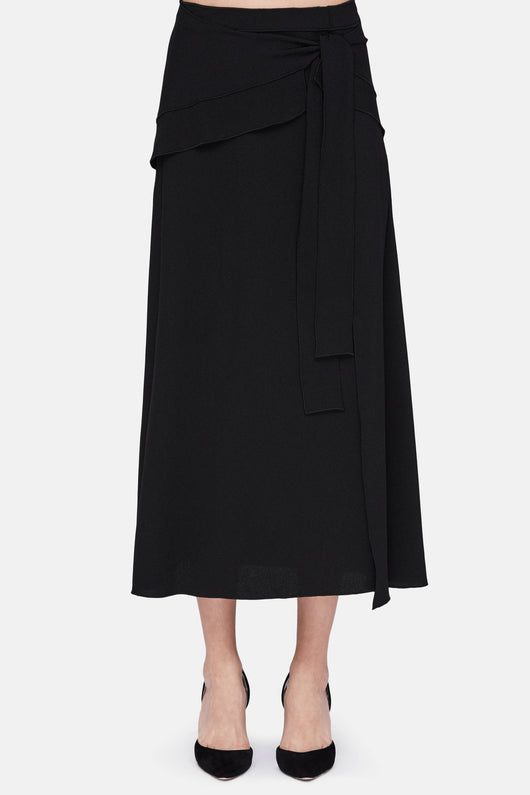 Wrap Skirt with Ties - Black