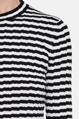 Irregular Stripe Knit Crewneck - White/Black