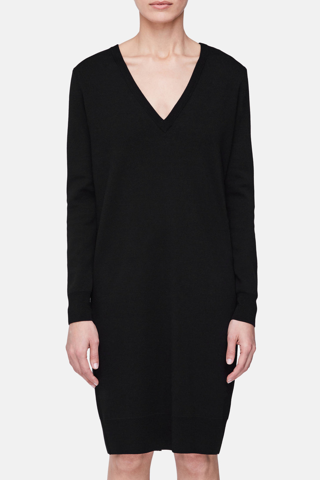 Button Back Knit Dress - Black