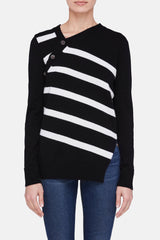 Asymmetric Knit Pullover - Black/White