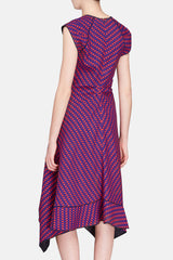 Cap Sleeve Dress with Knot - Indigo/Red Print