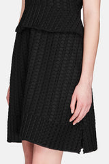 Cap Sleeve A-Line Dress - Black