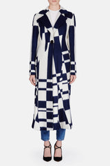 Coat 07 Landscape Panel Coat - Navy/Ivory