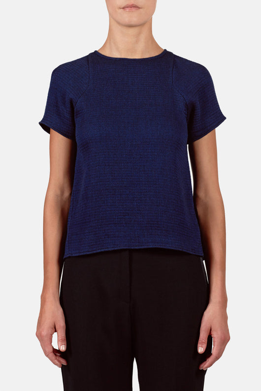 T-Shirt 02, Japanese Wave Knit - Cobalt
