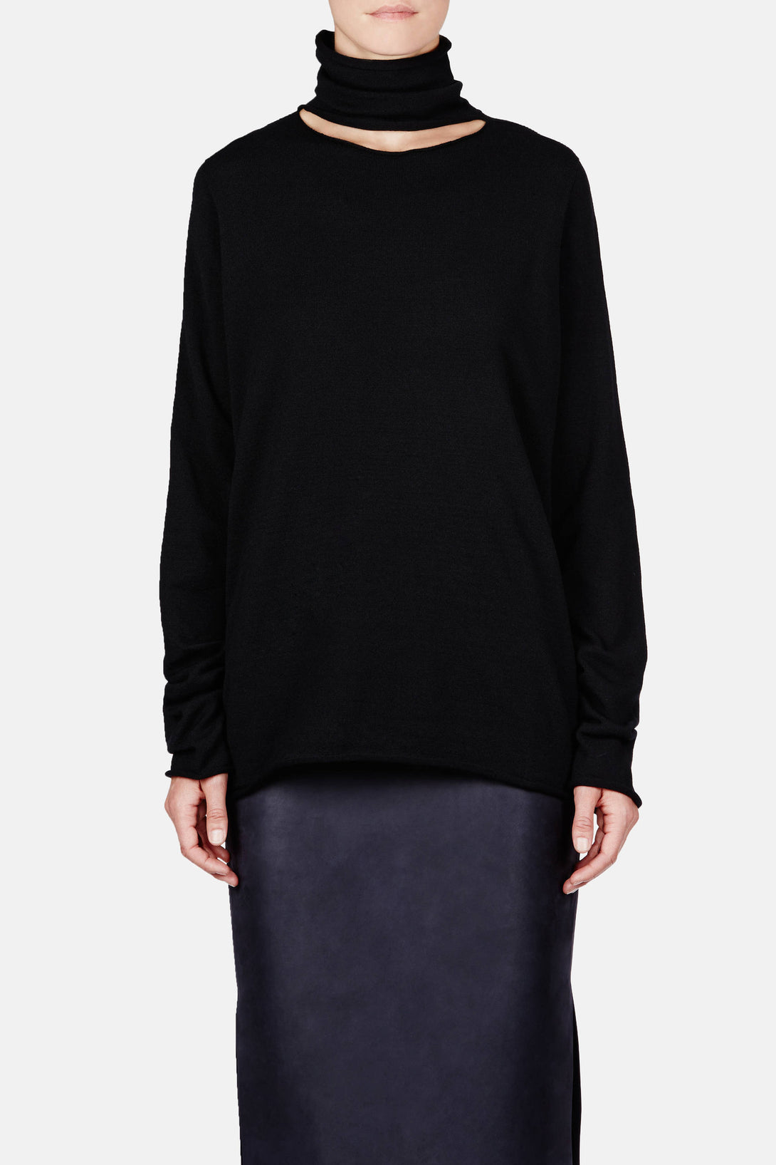 Sweater 02 Deconstructed Turtleneck - Black